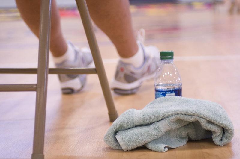バスケの練習のワンブレイク