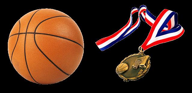 バスケットボールと優勝メダル