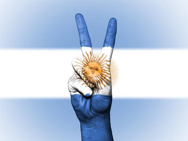 アルゼンチンの国旗とピース